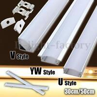 1/2/5x 30/50cm U/V/YW Aluminum Channel Holder Cover End Up LED Rigid Strip Light