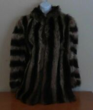 LADIES RACOON FUR 2 TONED STRIPED JACKET - VINTAGE - VERY GOOD CONDITION