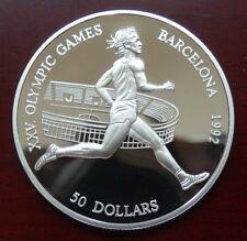 "Cook Islands: 50 Dollar ""Olympiade Barcelona 1992"" 1990 - PP/Ag. !!"