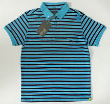 "Jones Men's ""Ellis"" Striped Button down collar Aqua (Blue) T-Shirt,Size:Large"