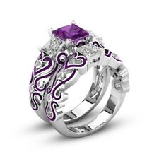 925 Silver Antique Three-stone Bridal Set With Purple Cutout Design Wedding Band