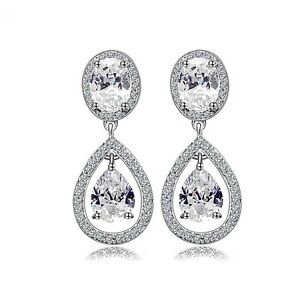 Platinum Plated luxury Waterdrop Cubic Zircon Bridal Dangle Drop Earrings