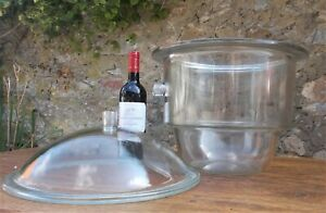 HUGE glass bowl with lid, from French science lab,  dessicator, vase,