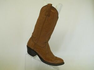 Brown Leather / Shark Skin Cowboy Western Boots Womens Size 7 B