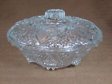 KIG Malaysia Pressed Glass Candy Dish w/Lid Fleur de Lis Pattern Roses in Hearts