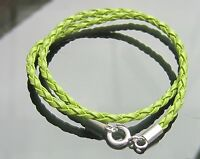 Green and Gold Braided Eco Leather Cord Bracelet with 925 Sterling Silver Clasp