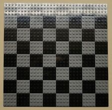 x64 NEW Lego Plates 4x4 Black & DK Gray Baseplates MAKES CHESS Game Board