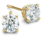 14k Yellow Gold 0.60TCW Real Round Solitaire Diamond Certified Stud Earring