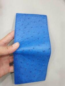 BLUE genuine ostrich Leather Skin MEN'S BIFOLD WALLET