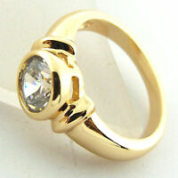 RING GENUINE REAL 18K YELLOW G/F GOLD SOLID DIAMOND SIMULATED SOLITAIRE DESIGN