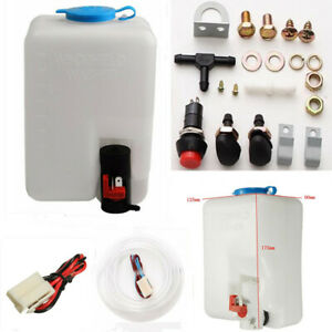 1x 1.8L 12V Car Windshield Washer Pump Bottle+Botton Switch+Jet+Hose+Wiring Loom