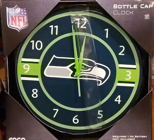"""Seattle Seahawks Brand New NFL WALL """"BOTTLE CAP"""" CLOCK - SEAHAWKS LOGO BY FOCO"""