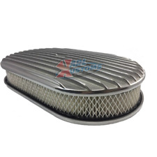 """15"""" X 2"""" Oval Full Finned Polished Aluminum Street Hot Rod Air Cleaner Assembly"""