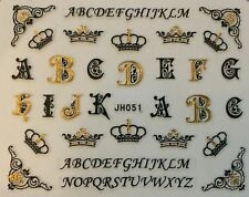 Nail Art 3D Decal Stickers Letters Alphabet Gold & Black Crown Tiara JH051