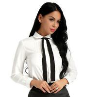 Chemisier Femme T-Shirt Haut Cravate Chic à Manche Longue Blouse Casual Chemise