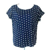 Womens T Shirt L Large Navy Blue White Nautical Sailboat Scoop Neck Boat Tee Top