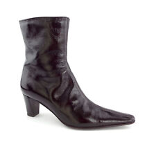 AQUATALIA Size 7.5 ZYLO Brown Crushed Patent Weatherproof Ankle Boots 7 1/2 TAP