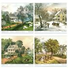 Currier & Ives Lithographs American Homestead Set Of 4
