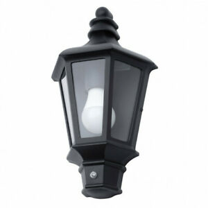 Perry Outdoor Traditional Half Lantern Photocell Wall Light in Black Litecraft
