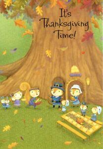 Happy Thanksgiving Squirrel Squirrels Harvest Picnic Theme Hallmark Card