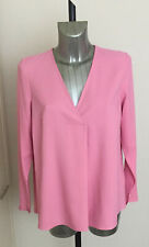 M&S Collection Size 12 16 Long Sleeve V Neck Pink Blouse Bnwt