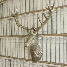 Grande Metal plateado de pared cabeza de ciervo Retro Vintage Country Chic