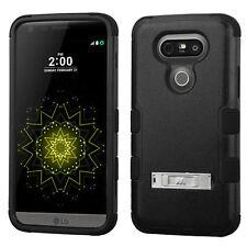 for LG G5 - FULL BLACK ARMOR HIGH IMPACT HYBRID KICKSTAND CASE PHONE COVER SKIN