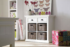 Stockholm White Painted Mahogany Dining Furniture Small Buffet With 4 Baskets