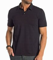 John Varvatos Star USA Men's Short Sleeve Variegated Stripe Polo Shirt Black