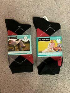 2 Pair- NO NONSENSE Black/Red/Grey argyle women's socks--New--Never opened