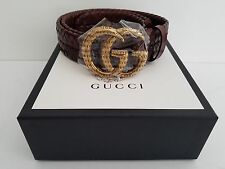 $1100 GUCCI Mens braided leather belt double G lock size 32, 90/36 1.5 inch