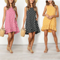 Women Sweet Summer Beach Fashion Loose Short Dress Round Neck Ruffle Dresses
