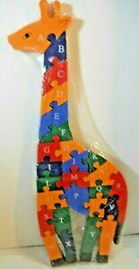 Wood Giraffe Puzzle  Alphabet  ABC's 123s Ages 3+ 26 Pcs unused Nagyker