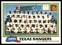1981 Topps Baseball Set Break Team Checklist Texas Rangers #673