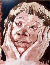 """Original watercolor painting""""Imagine""""by Nardu Debrah,Protrait,Size12""""x16"""""""