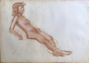 Original vintage Sanguine drawing, Female Nude, Model, Girl, Woman