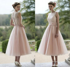 Sheer Straps A Line Prom Dress Tea length Formal Evening Gown Wedding Dresses