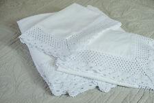 BORDE de encaje blanco hermoso conjunto de Edredón Super King Size 100% algodón 200 Hilos