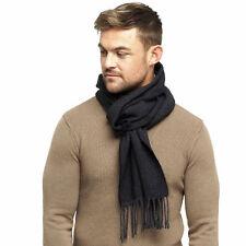 Mens Fine Soft Herringbone Textured Weave Scarf by RJM Black & Grey