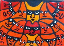 ACEO Original Painting CREATURE POSSE surreal brut folk outsider art JEFF ZENICK