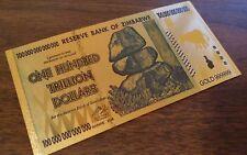 Zimbabwe 100 One Hundred Trillion Dollars Banknote 24k Gold Foil Harare 2008