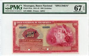 """NICARAGUA 1942 ISSUE 100 CORDOBAS """"SPECIMEN"""" POP 1 OF 1 PMG-SUPERB-UNC-67-EPQ."""