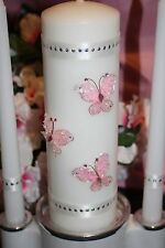 Pink Wire Butterfly Wedding White Unity Candle Set