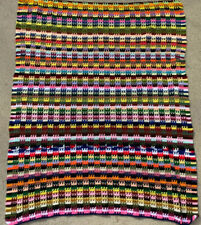 """Vintage Handmade Crochet Afghan Multicolor Blanket Throw 50"""" x 68"""" Stripe"""