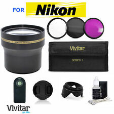 52MM HD 3.7X TELEPHOTO ZOOM LENS + REMOTE+FILTER KIT FOR NIKON D3100 D3200 D3300