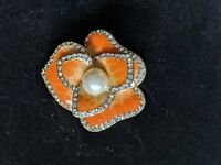 Gold Tone Orange Enamel Rhinestone Faux Pearl Statement Stretch Ring Size 7
