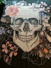 "Skull Waterproof Fabric Stall Shower Curtain Liner 60"" W x 72"" H - Black flowers"