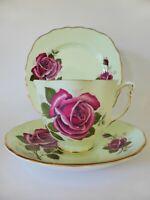 1950's Colclough Pink Rose Trio, Vintage English Tea Cup, Saucer & Cake Plate