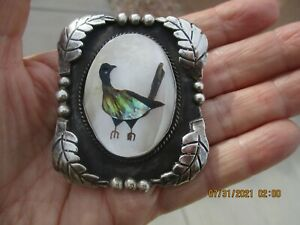 OLD PAWN STERLING SILVER LARGE BOLO TIE~BIRD IN THE MIDDLE W/MOP ABALONE SHELL