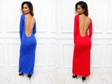Round Neck Backless Long Sleeve Dresses for Women